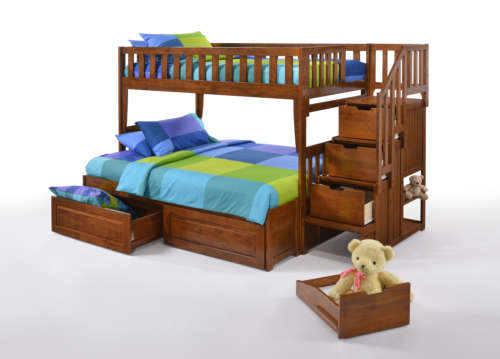 TWIN FULL STAIRCASE BUNK BED